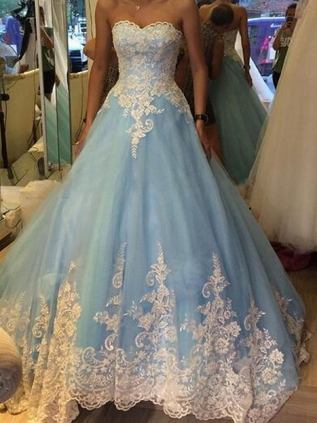 Ball Gown Blue Tulle Floor-Length Dresses with Applique