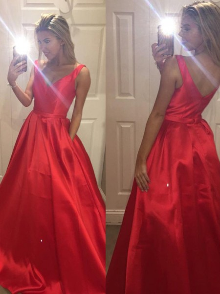 A-Line/Princess Red Satin Sweep/Brush Train Dresses