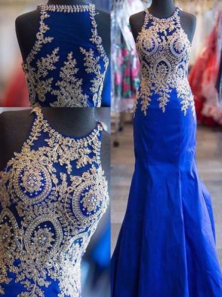 Trumpet/Mermaid Royal Blue Satin Sweep/Brush Train Dresses with Beading