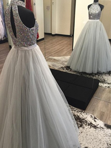 A-Line/Princess Silver Tulle Floor-Length Dresses with Beading