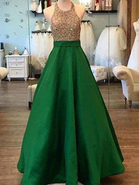 A-Line/Princess Green Satin Floor-Length Dresses with Beading
