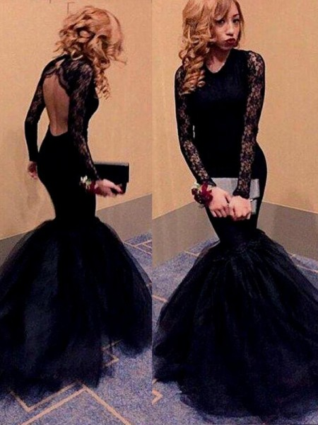 Trumpet/Mermaid Black Tulle Floor-Length Dresses with Lace