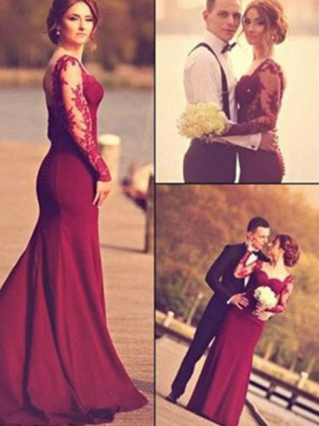 Trumpet/Mermaid Burgundy Satin Floor-Length Dresses with Applique