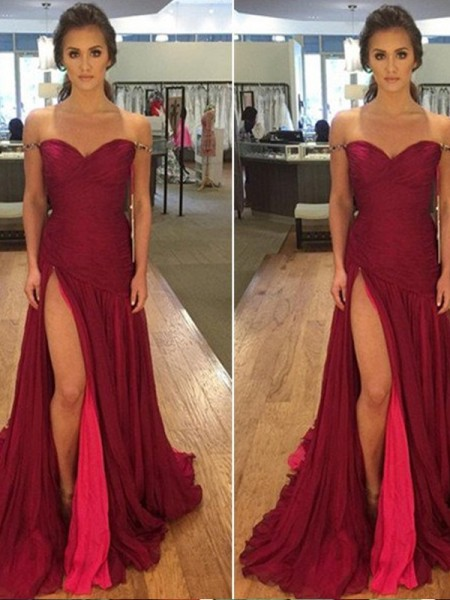 A-Line/Princess Burgundy Chiffon Floor-Length Dresses