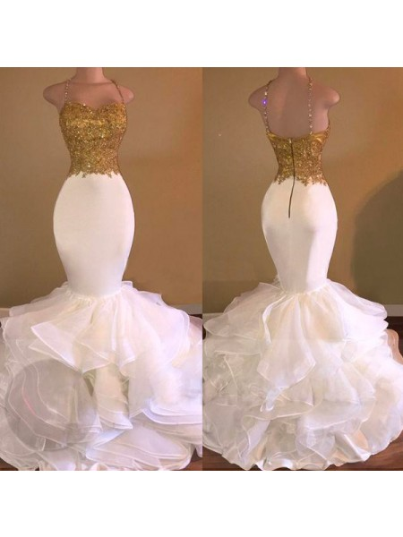 Trumpet/Mermaid White Organza Floor-Length Dresses with Applique