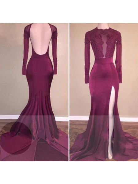 Trumpet/Mermaid Burgundy Satin Sweep/Brush Train Dresses with Applique