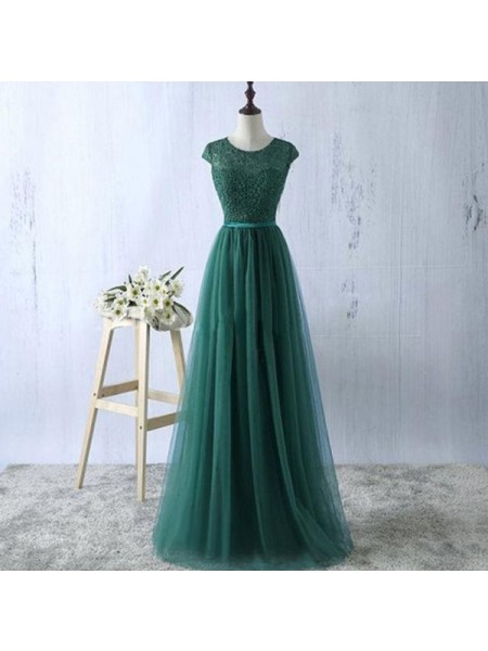 A-Line/Princess Green Tulle Floor-Length Dresses