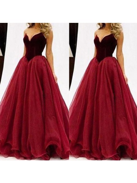 Ball Gown Red Tulle Floor-Length Dresses