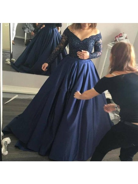 Ball Gown Dark Navy Satin Sweep/Brush Train Dresses with Beading