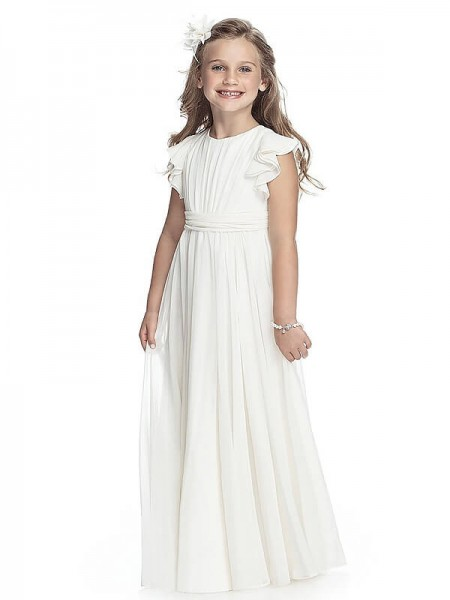 A-Line/Princess White Chiffon Floor-Length Flower Girl Dresses