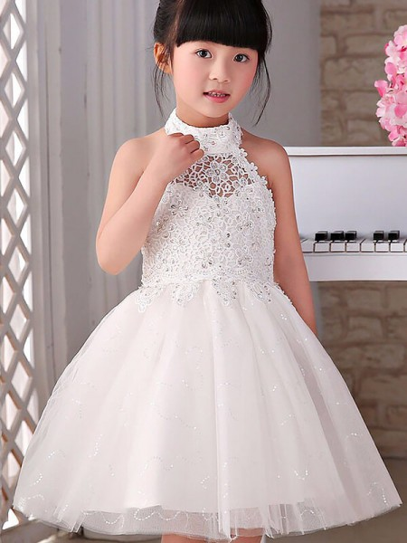 A-Line/Princess White Tulle Knee-Length Flower Girl Dresses with Beading