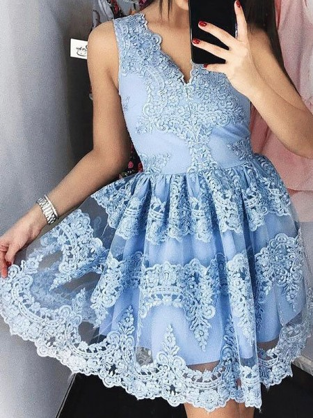 A-Line/Princess Blue Lace Short/Mini Homecoming Dresses