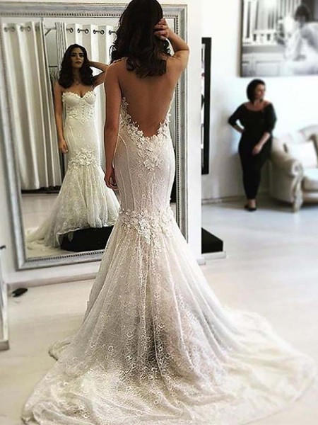 Trumpet/Mermaid Sweetheart Sweep/Brush Train Lace Sleeveless Wedding Dresses