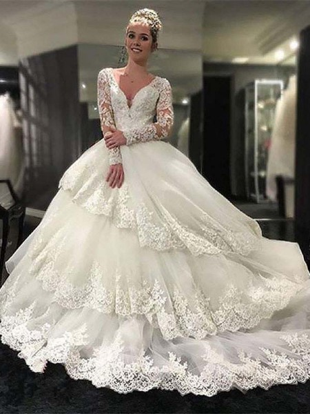 Ball Gown V-neck Lace Tulle Long Sleeves Court Train Wedding Dresses