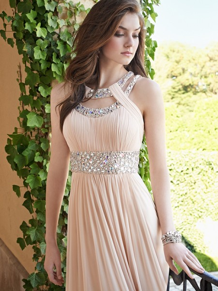A-Line/Princess Chiffon Floor-Length Dresses with Beading