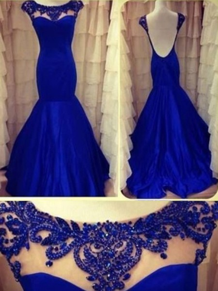 Trumpet/Mermaid Royal Blue Taffeta Floor-Length Dresses with Beading