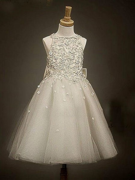 A-Line/Princess Champagne Organza Ankle-Length Flower Girl Dresses with Bowknot
