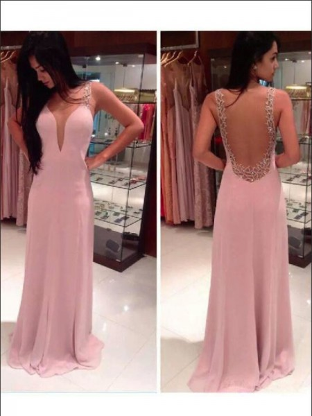 A-Line/Princess Pearl Pink Chiffon Floor-Length Dresses with Beading