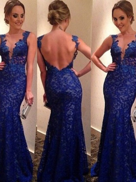 Trumpet/Mermaid Royal Blue Lace Floor-Length Dresses with Applique
