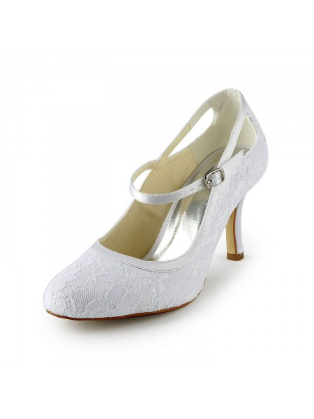 SheenOut Pretty Satin Stiletto Heel Pumps With Buckle White Wedding Shoes S1A31B13