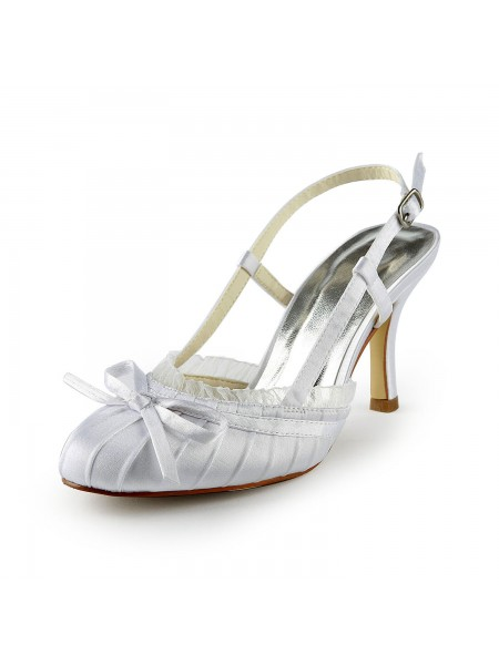 SheenOut Pretty Satin Stiletto Heel Sandals Closed Toe With Buckle White Wedding Shoes S1A31B11