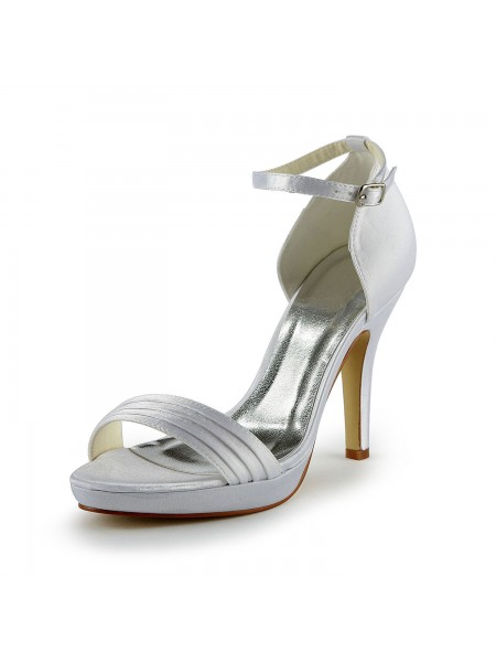 SheenOut Pretty Satin Stiletto Heel Sandals With Buckle White Wedding Shoes S137036