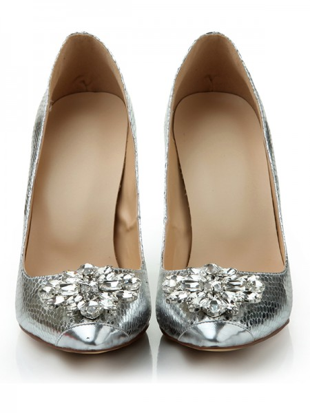 SheenOut Stiletto Heel Closed Toe Sheepskin With Rhinestone Silver Wedding Shoes S1LSDN1057LF