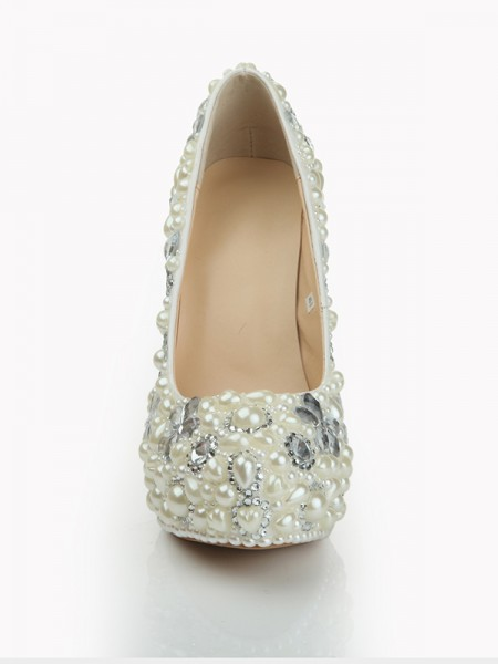 SheenOut Patent Leather Closed Toe Stiletto Heel Platform With Pearl White Wedding Shoes S1LSDN1079LF