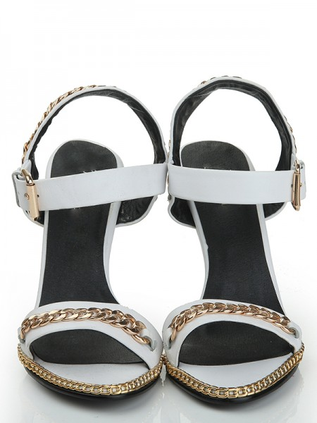 SheenOut Sheepskin Wedge Heel Peep Toe With Chain Sandals Shoes S1LSDN1089LF