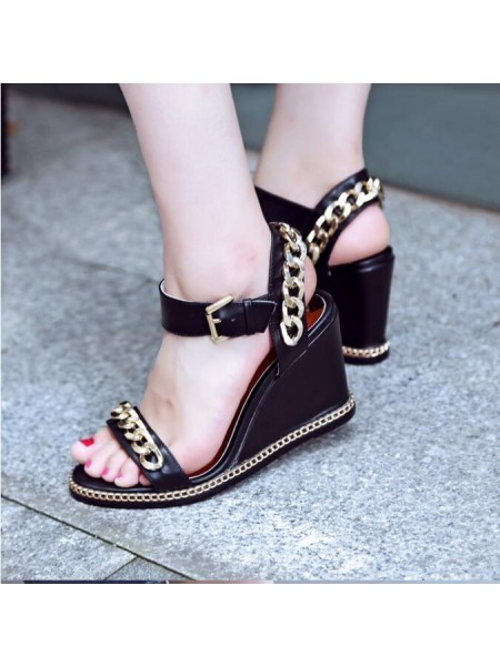 SheenOut Peep Toe Sheepskin Wedge Heel With Chain Wedges Shoes S1LSDN1090LF