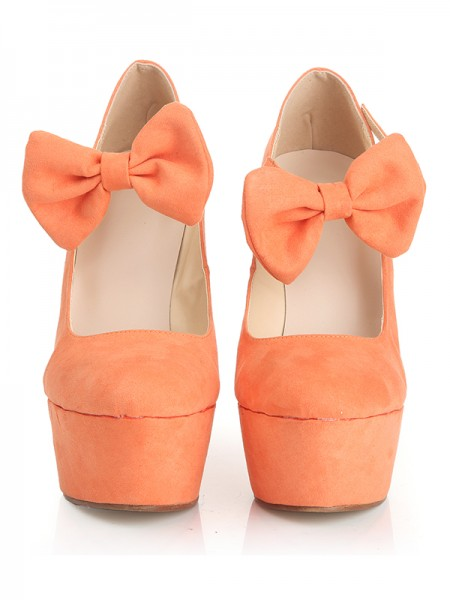 SheenOut Closed Toe Suede Wedge Heel Platform With Bowknot Wedges Shoes S1LSDN1094LF