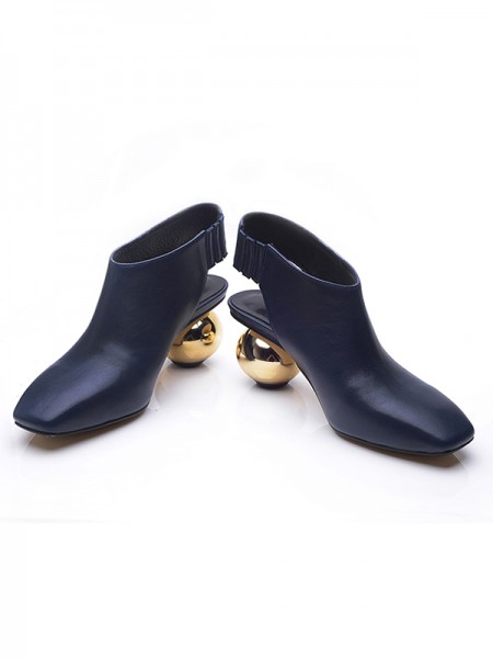 SheenOut Closed Toe Cattlehide Leather Round Heel Booties/Ankle Dark Navy Boots S1LSDN1102LF