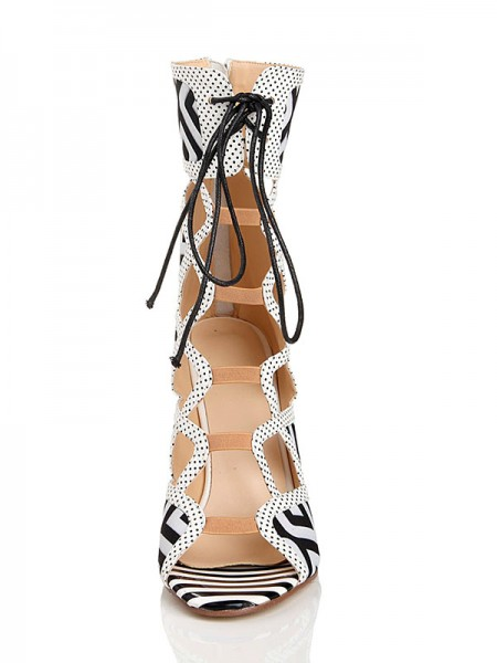 SheenOut Stiletto Heel With Lace Up Peep Toe Flock Sandal Mid-Calf White Boots s2lsdn1127lf