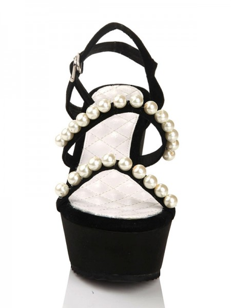 SheenOut Flock Wedge Heel With Pearl Platform Peep Toe Wedges Shoes s2lsdn1128lf