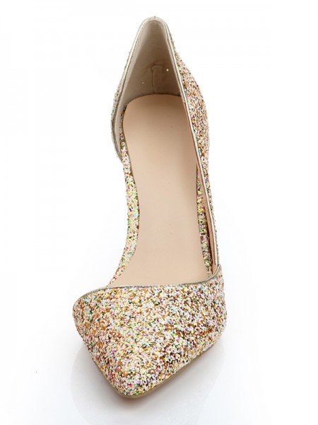 SheenOut Patent Leather Closed Toe Stiletto Heel With Sequin High Heels s2lsdn1141lf