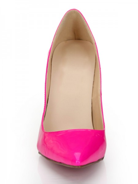 SheenOut Patent Leather Fuchsia Closed Toe Stiletto Heel High Heels S2LSDN1170LF