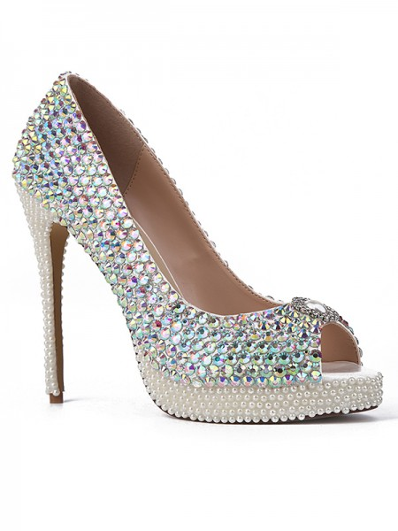 SheenOut Sheepskin Peep Toe with Rhinestones Stiletto Heel Platform High Heels S2LSDN1508007LF