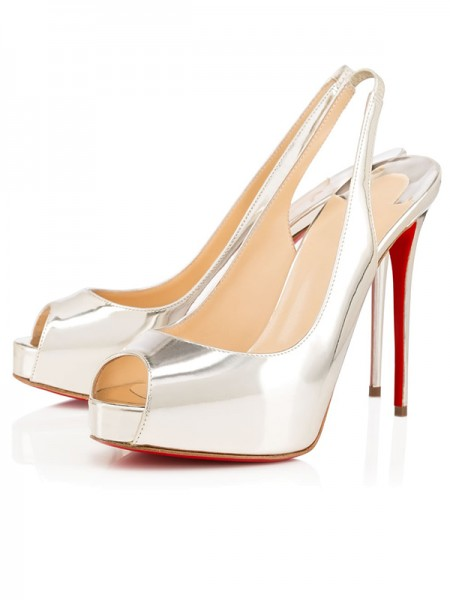SheenOut Peep Toe Patent Leather Stiletto Heel Platform Silver Sandals Shoes S2LSDN1508068LF