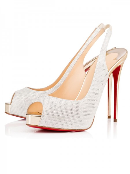 SheenOut Peep Toe Sparkling Glitter Stiletto Heel Platform White Sandals Shoes S2LSDN1508070LF