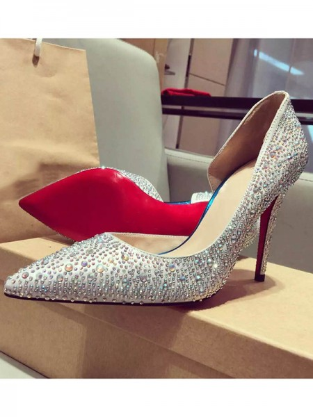SheenOut Satin Closed Toe Stiletto Heel With Rhinestone High Heels S3LSDN050402LF