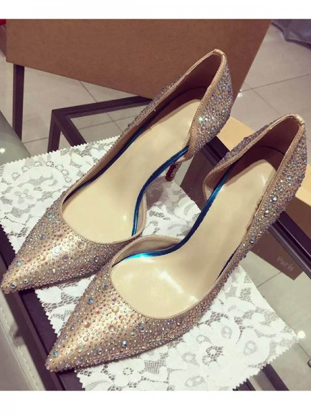 SheenOut Satin Closed Toe Cone Heel With Rhinestone High Heels S3LSDN050403LF