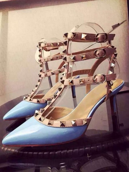 SheenOut Patent Leather Closed Toe Stiletto Heel With Rivet Party Sandals Shoes S3LSDN050404LF