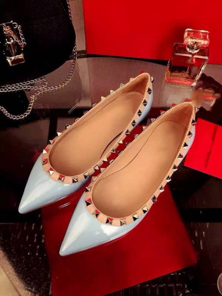 SheenOut Flat Heel Patent Leather Closed Toe With Rivet Party Casual Flat Shoes S3LSDN050412LF