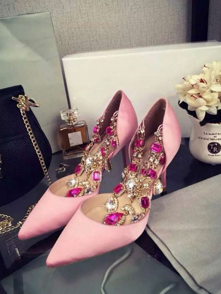 SheenOut Pink Stiletto Heel Satin Closed Toe With Rhinestone Chain High Heels S3LSDN050414LF