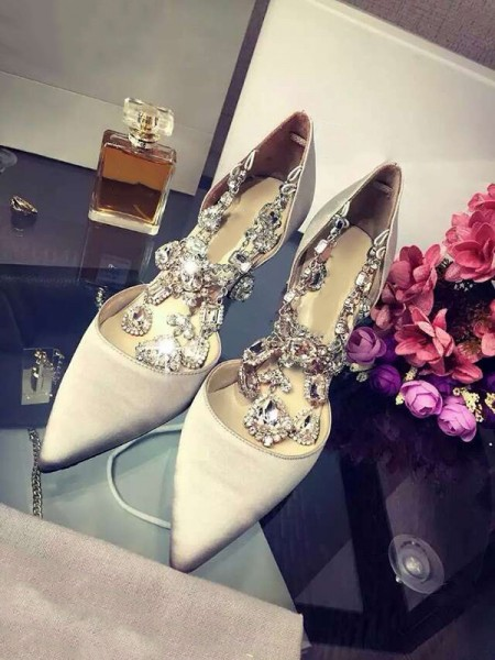 SheenOut Closed Toe Satin Stiletto Heel With Rhinestone Chain High Heels S3LSDN050416LF