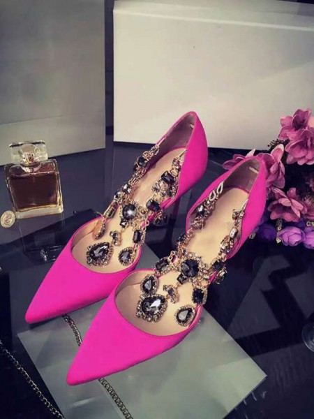 SheenOut Satin Stiletto Heel Closed Toe With Rhinestone Chain High Heels S3LSDN050417LF
