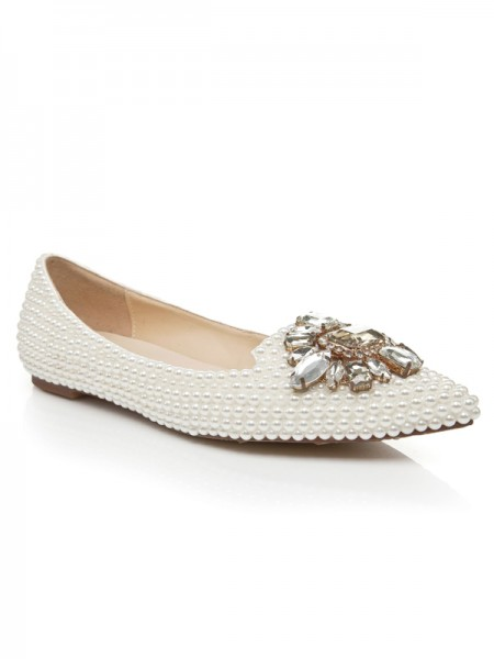 SheenOut Patent Leather Flat Heel Closed Toe With Pearl Rhinestone Casual Flat Shoes S5LSDN1179LF