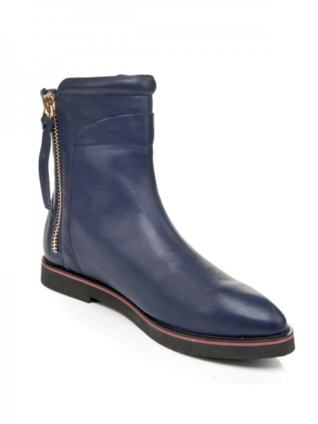 SheenOut Cattlehide Leather Flat Heel Closed Toe With Zipper Booties/Ankle Dark Navy Boots S5LSDN1181LF