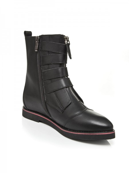 SheenOut Flat Heel Closed Toe Cattlehide Leather With Zipper Mid-Calf Black Boots S5LSDN1182LF