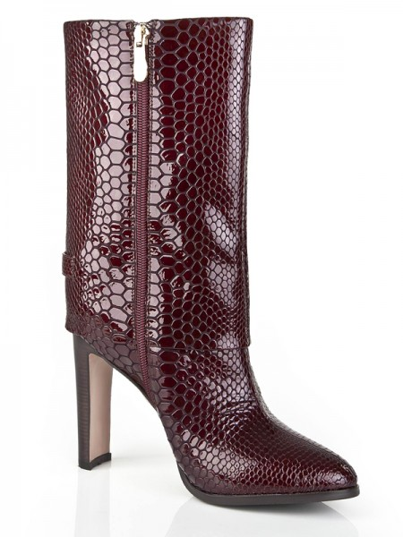 SheenOut Chunky Heel Cattlehide Leather Closed Toe Mid-Calf Burgundy Boots S5LSDN1187LF
